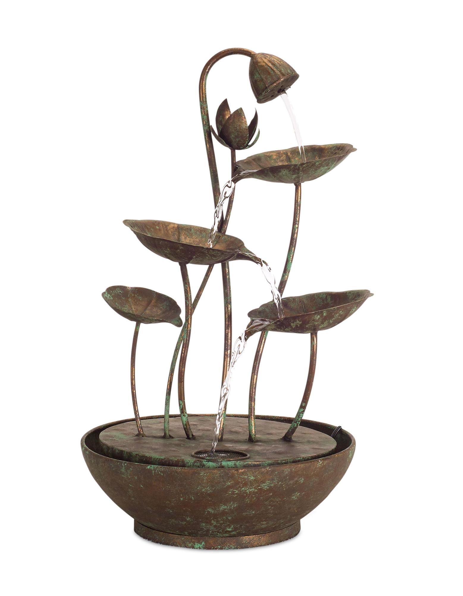 """Lotus Leaf Fountain 19.5""""H Iron"""