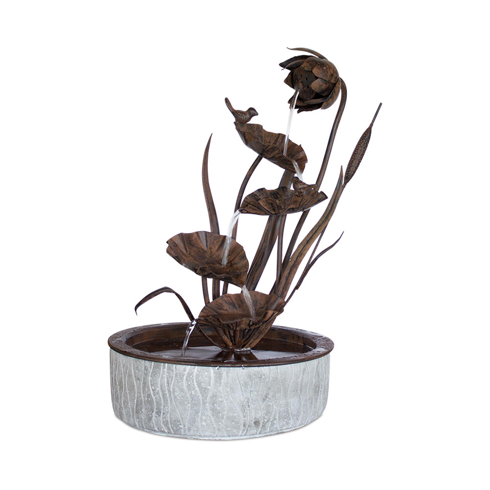 "Floral Fountain 13.5"" x 24""H, Metal"