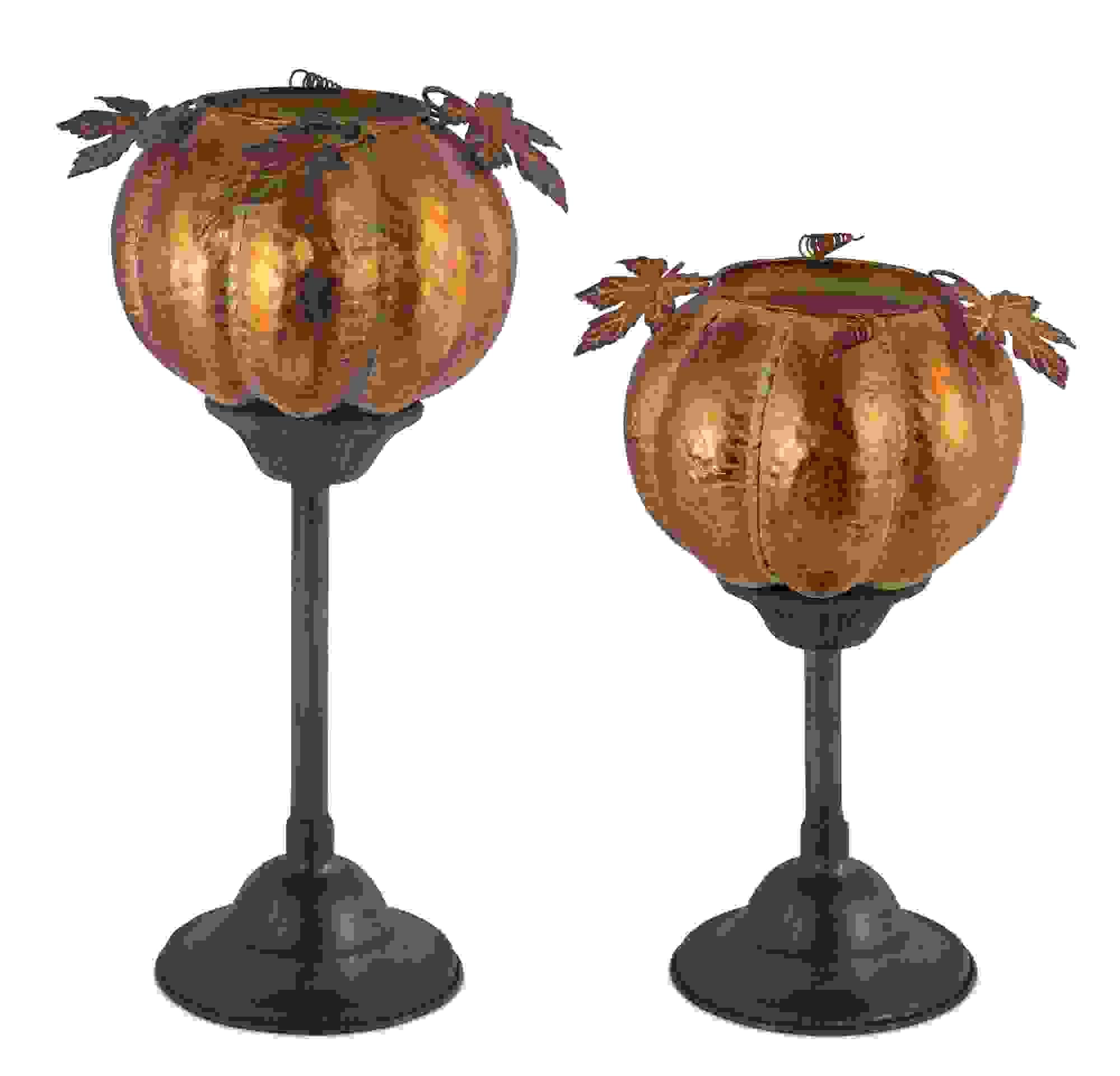 """Pumpkin Candleholder (Set of 2) 12""""H, 15""""H Iron"""
