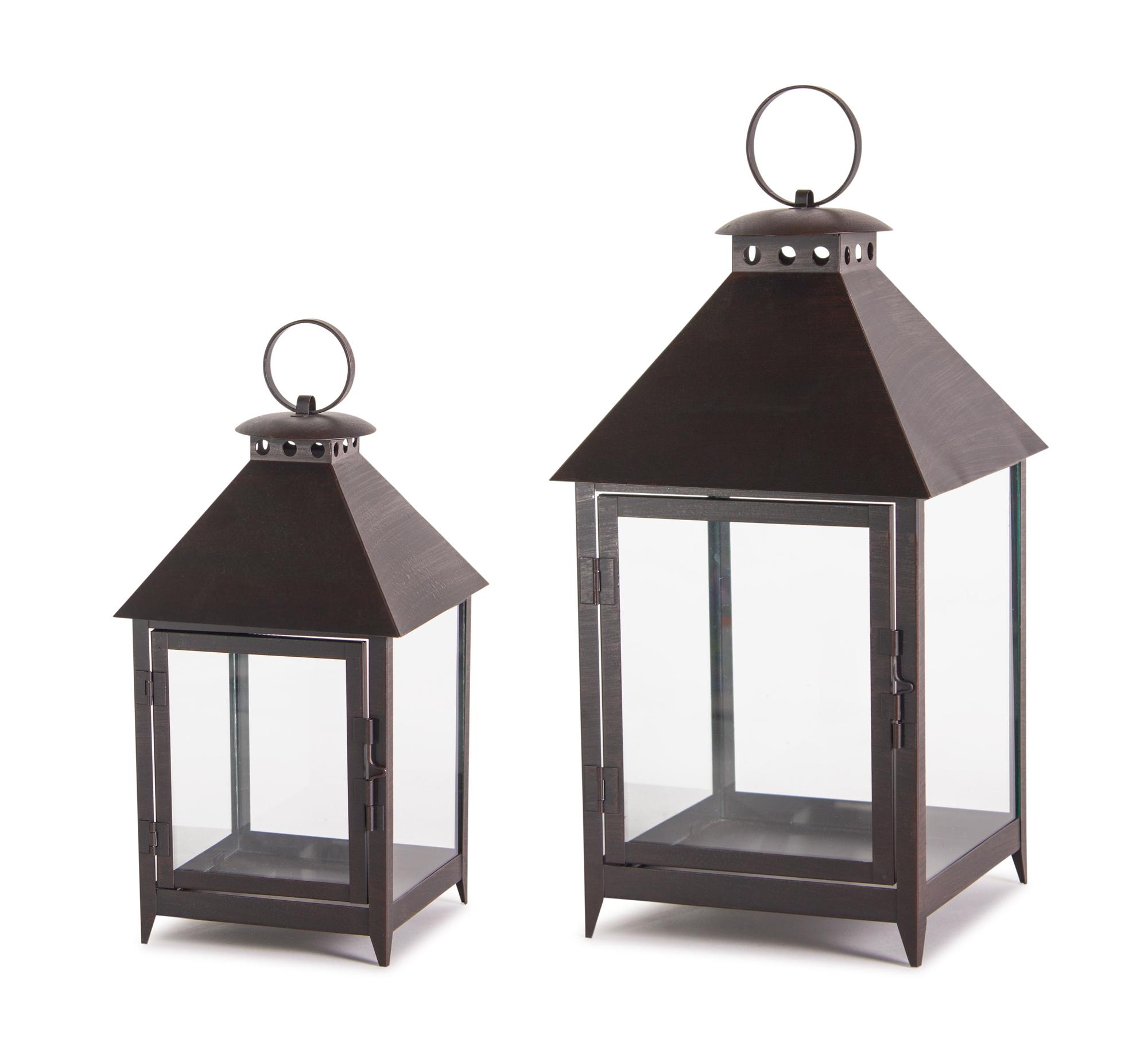 """Lantern (Set of 2) 11.75""""H, 16""""H Iron"""