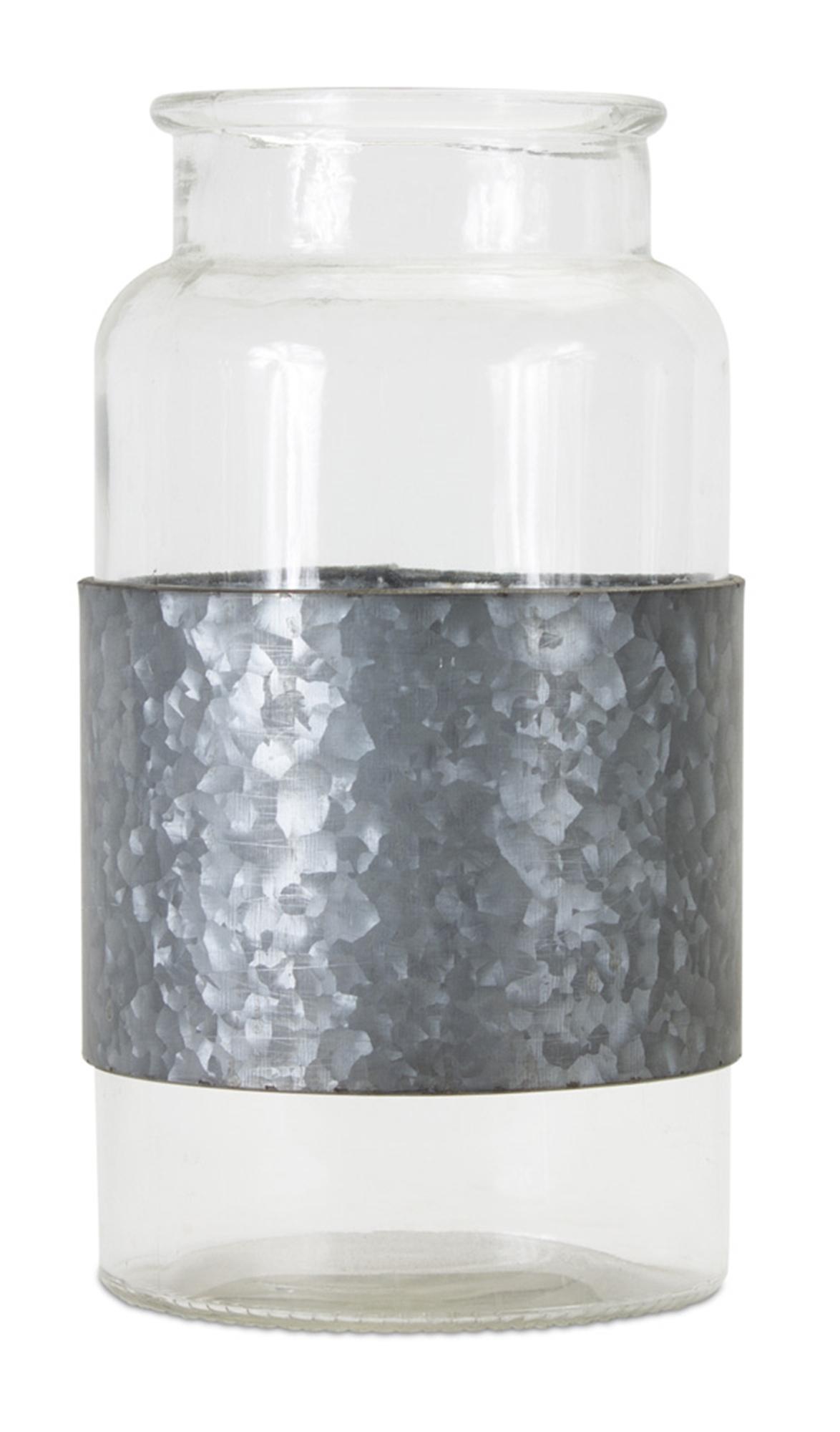 "Jar With Metal Wrap (Set of 2) 8"" x 12""H Glass/Iron"