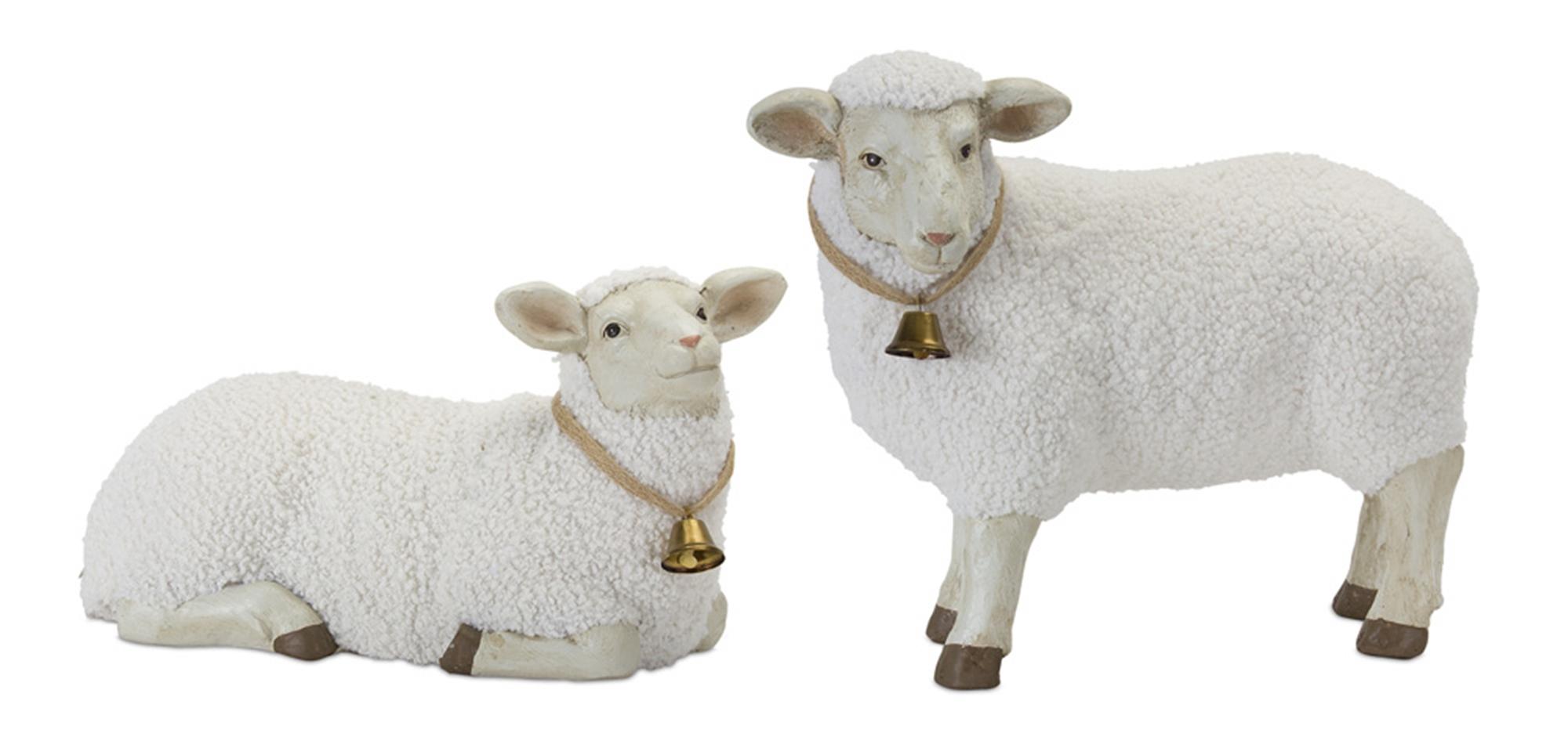"Lamb (Set of 2) 17"" x 9.5""H, 19"" x 15""H Stone Powder"