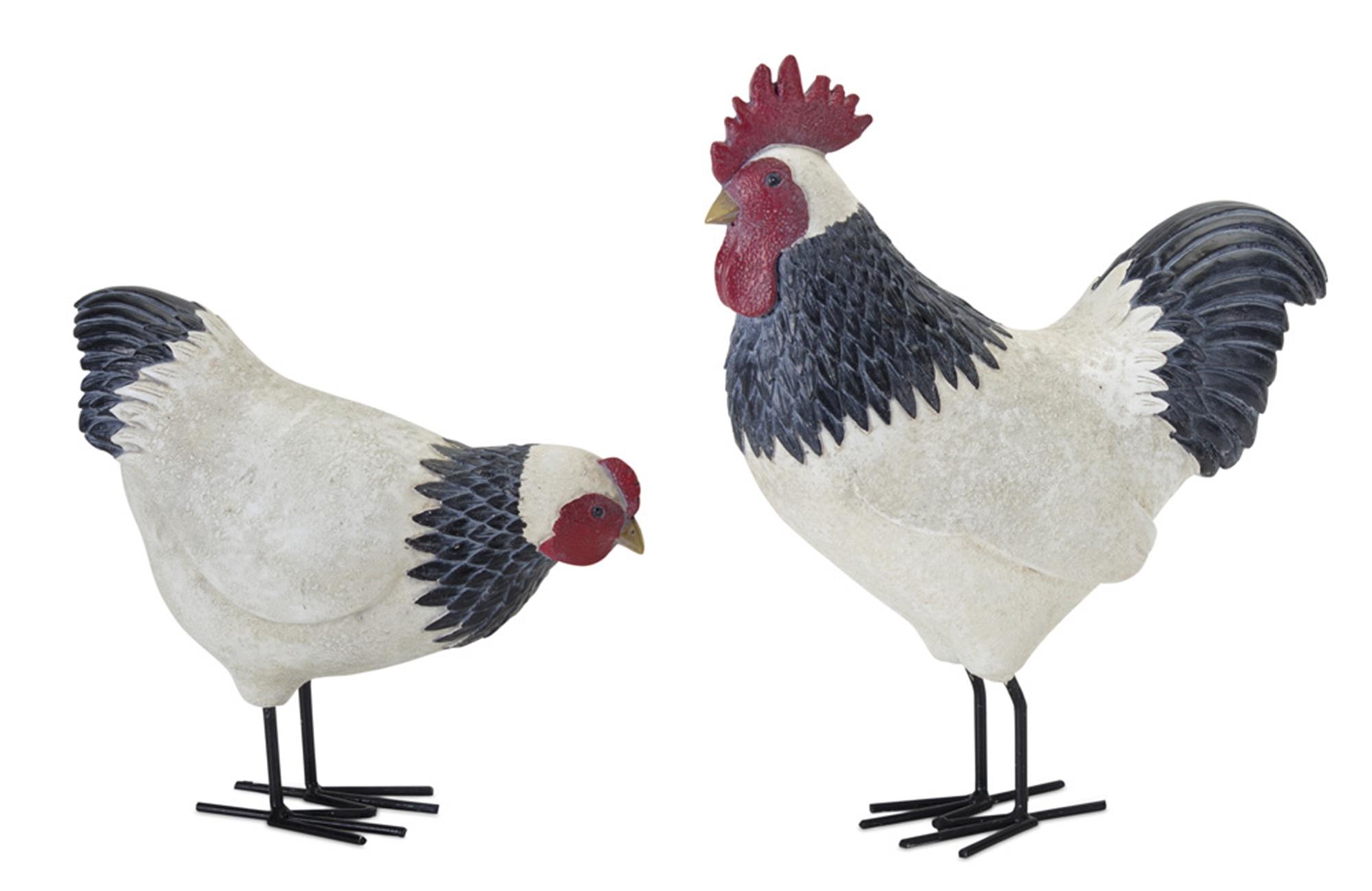 """Chicken (Set of 2) 8""""H, 12""""H Resin/Metal"""