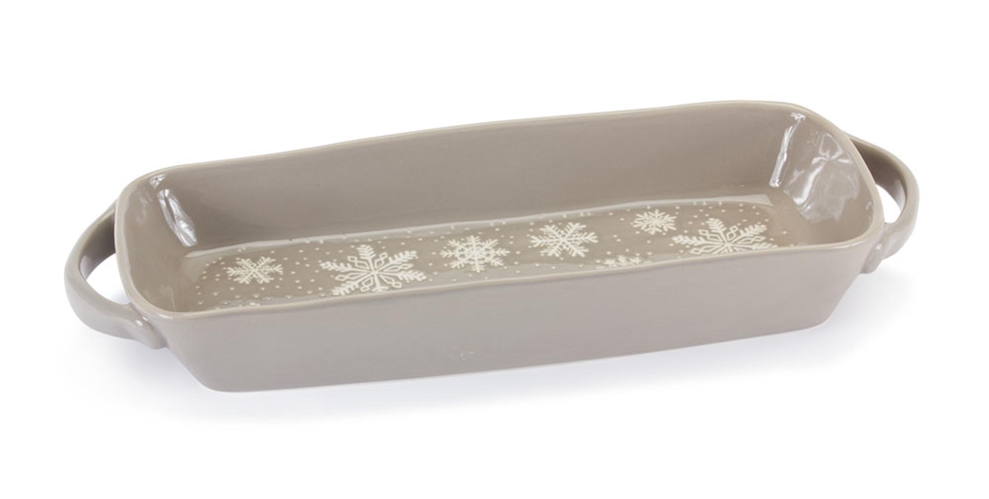 """Snowflake Platter 16""""L x 6""""W (Set of 2) Stoneware"""