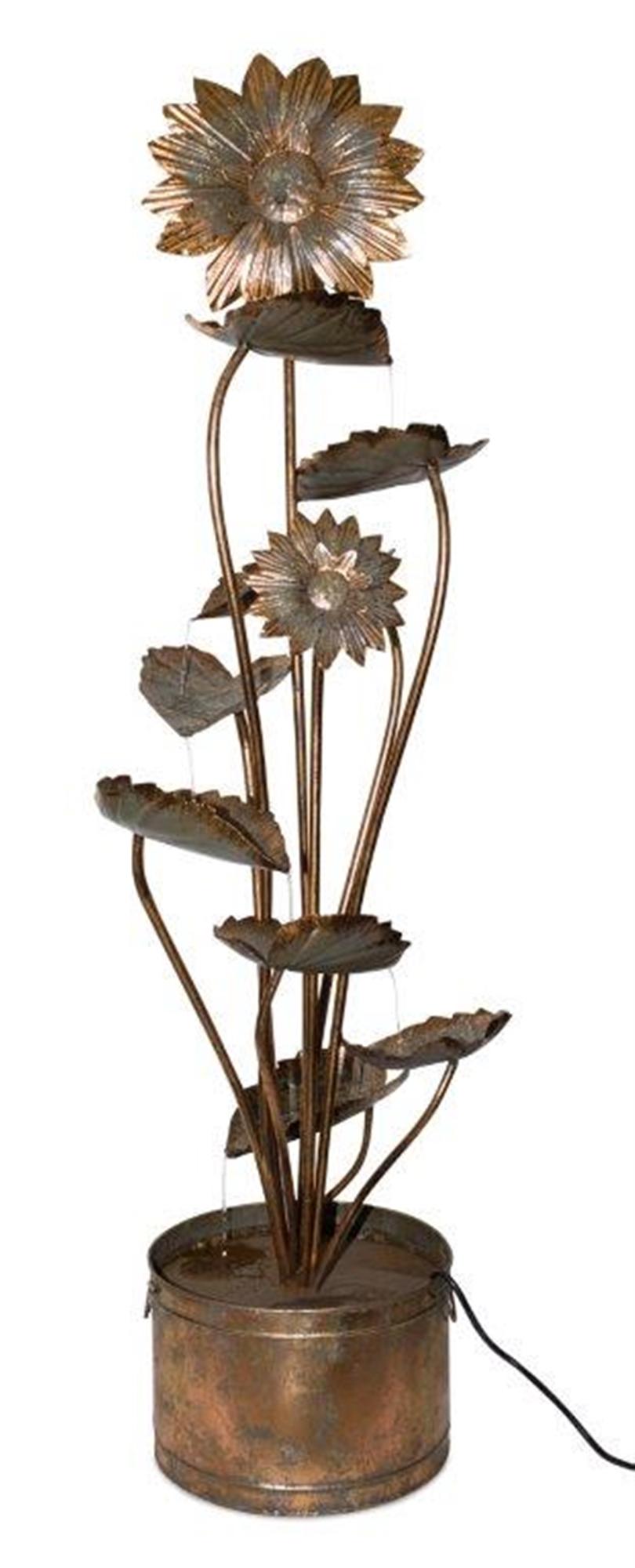 "Sunflower Fountain 19.5""L x 5'H Iron"