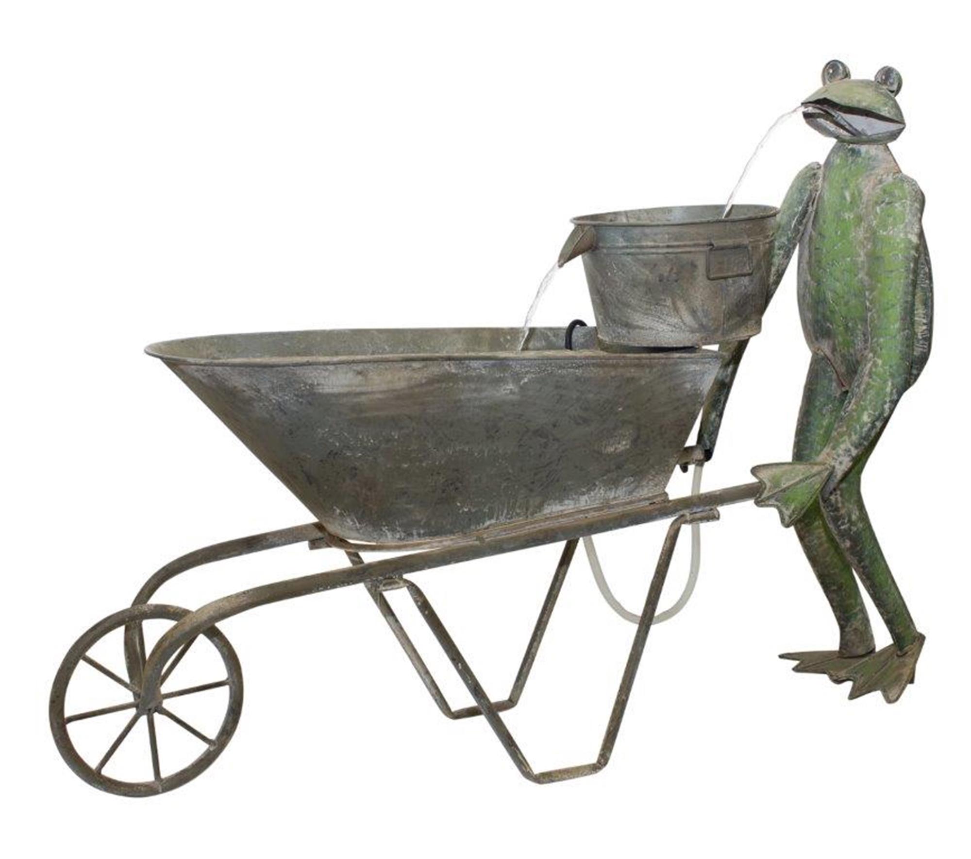 "Frog and Wheelbarrow Fountain 41.25""L x 30""H Iron"