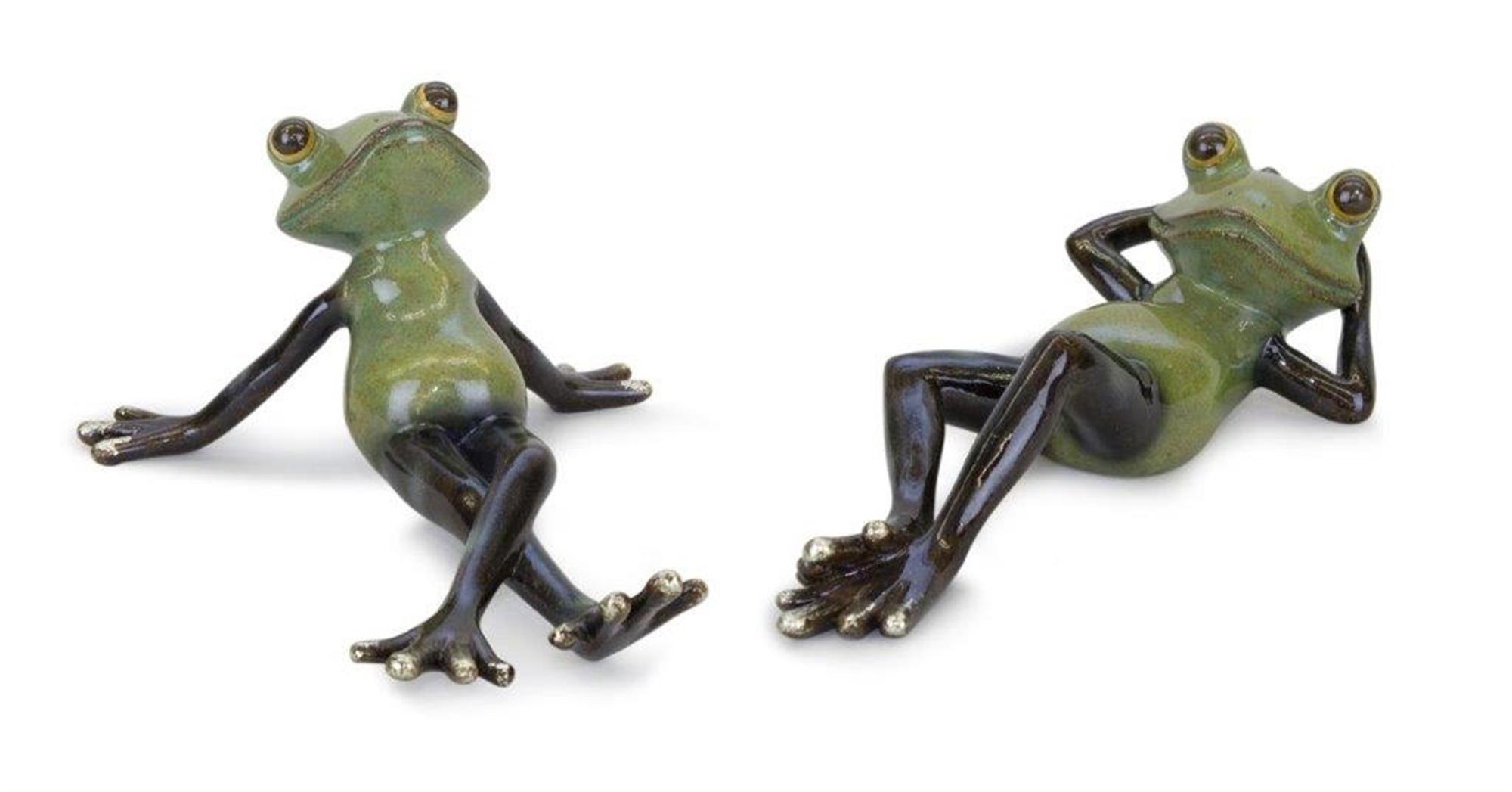 "Frog (Set of 2) 7.5""L x 3.5""H, 8""L x 2.5""H Resin"
