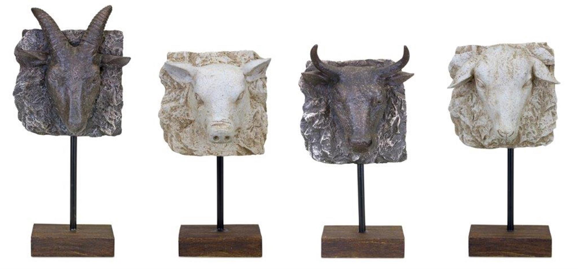 "Animal Sculpture (Set of 4) 12""H, 12""H, 12""H, 14""H Resin"