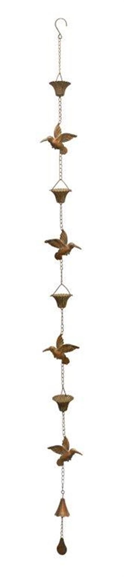 "Hummingbird Rain Chain 69""L Iron"