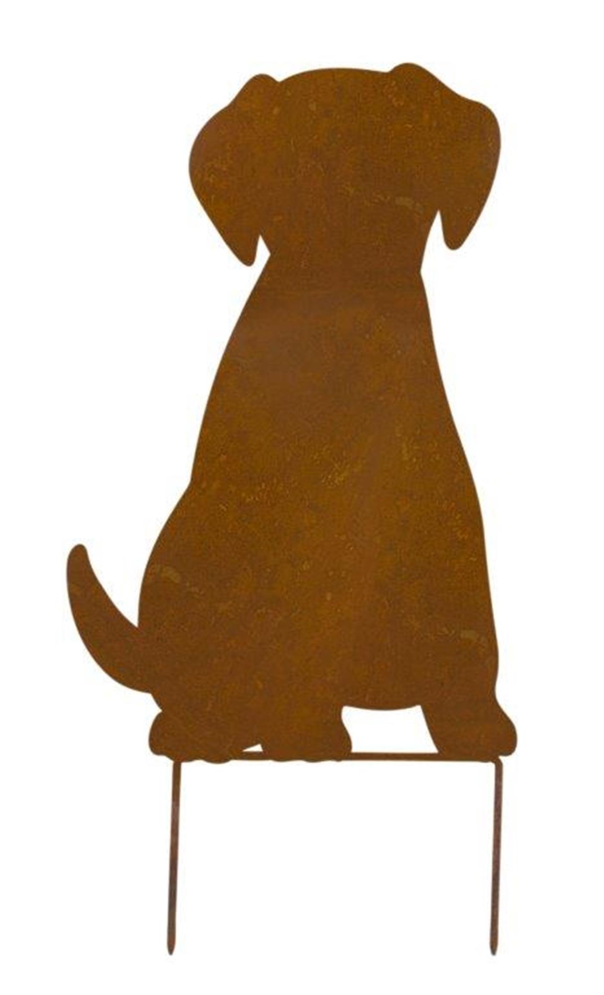 """Dog Silhouette Lawn Stake 10.5""""L x 19.5""""H Iron"""