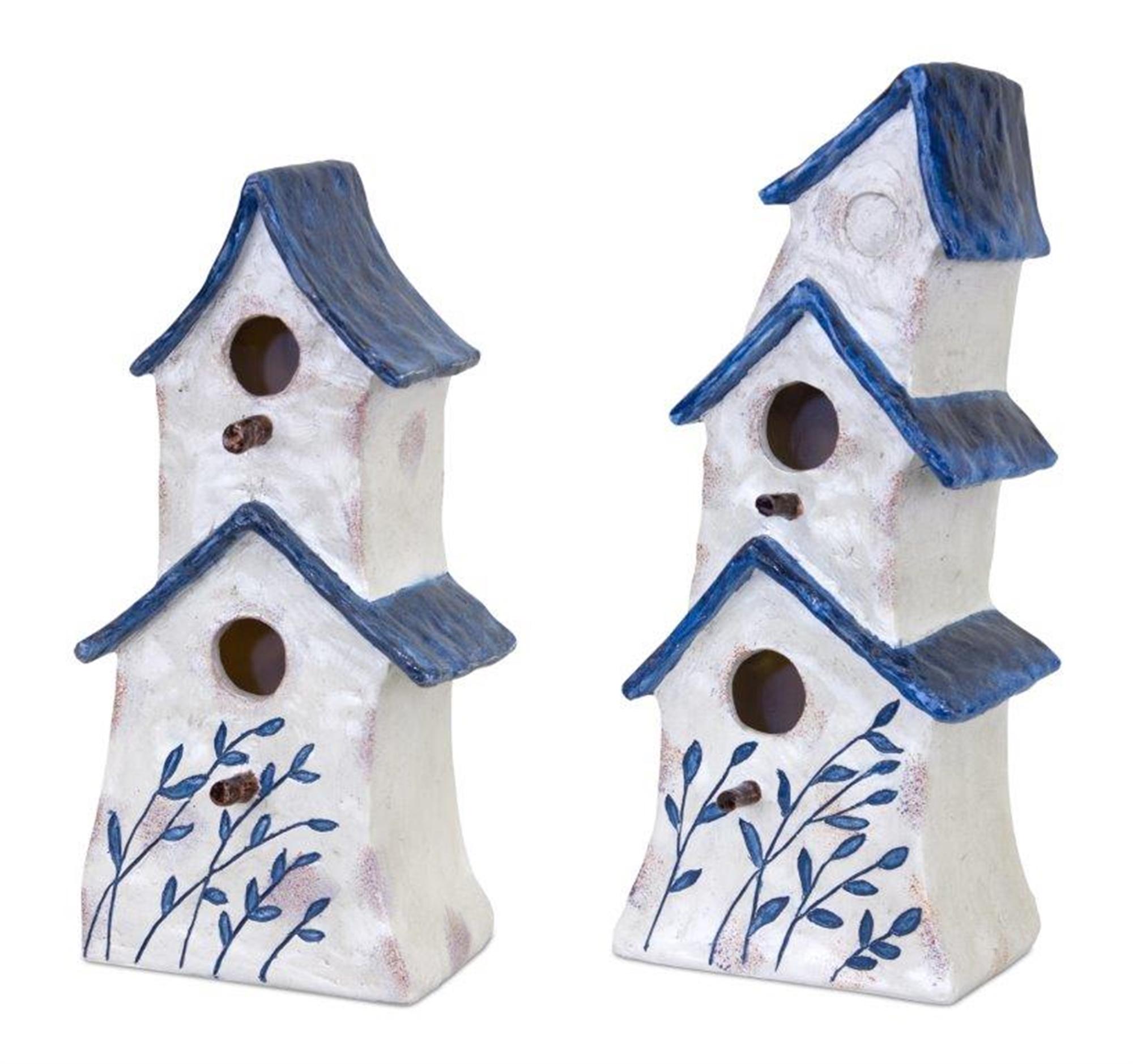 "Bird House (Set of 2) 11""H, 12.75""H Resin"
