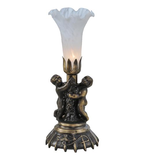 "13""High White Twin Cherub Pond Lily Mini Lamp"