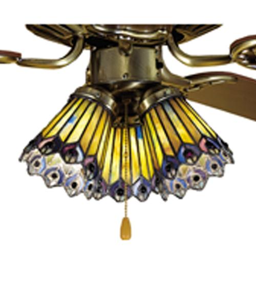 """4""""W Tiffany Jeweled Peacock Fan Light Shade"""