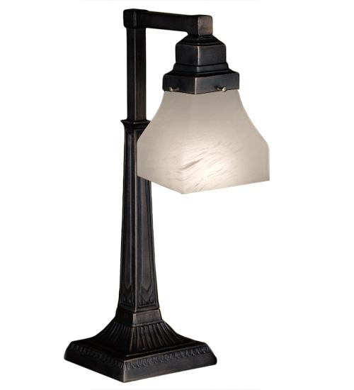 "20""H Bungalow White Alabaster Swirl Desk Lamp"