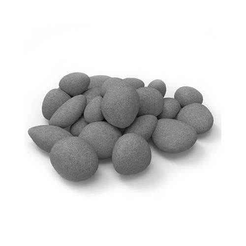 24 Piece Ceramic Fireplace Pebble Set in Gray