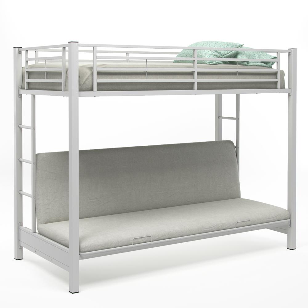 Zelen Twin Over Futon Bunk Bed, White