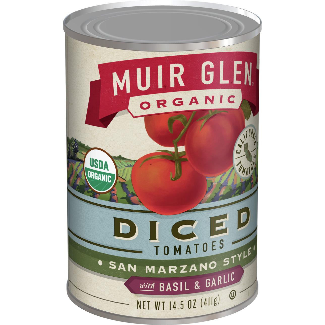 Muir Glen Diced Basil & Garlic Tomato (12x145 Oz)