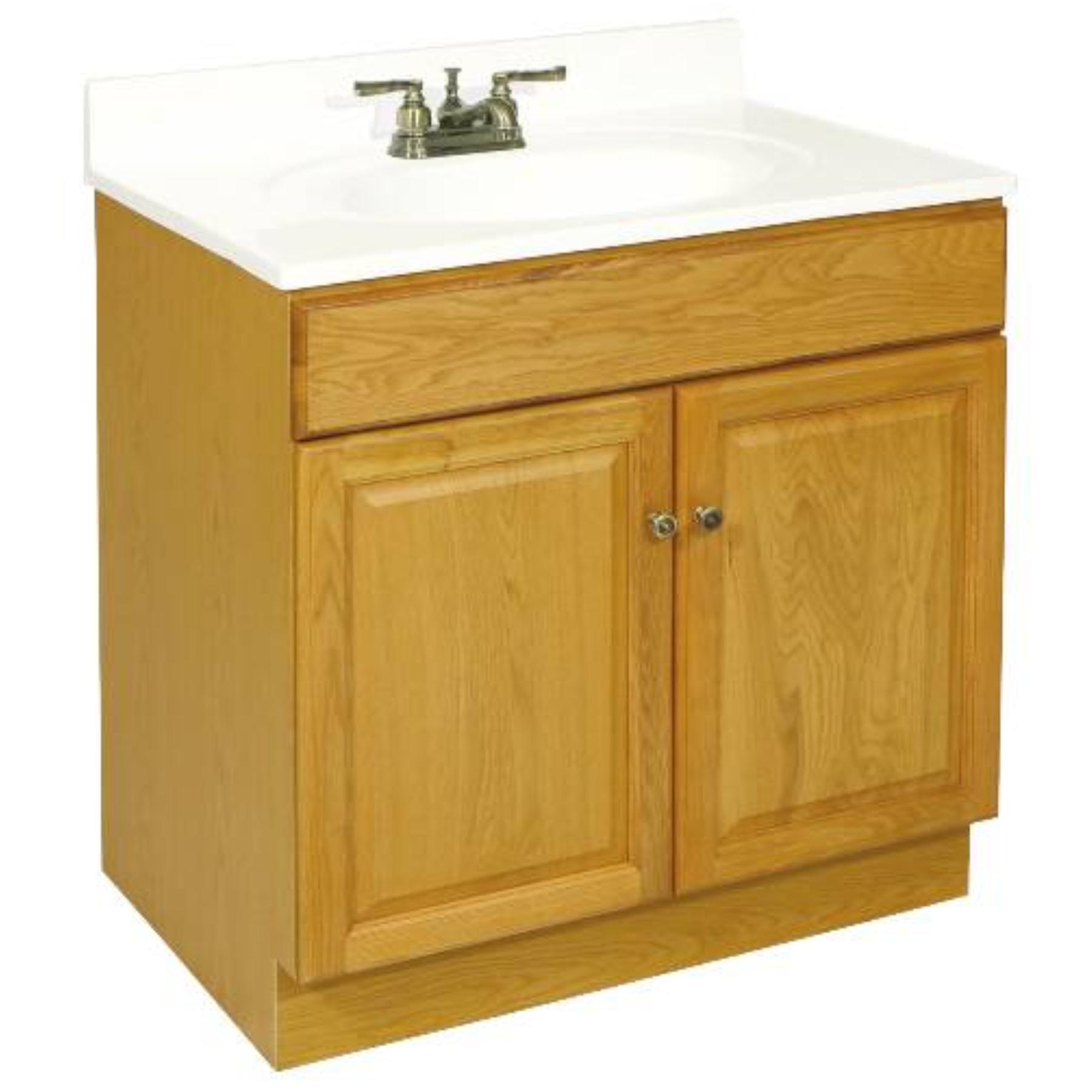 """30"""" x 18"""" Claremont Bathroom Vanity Cabinet, Ready To Assemble, 2 Door, Honey Oak"""