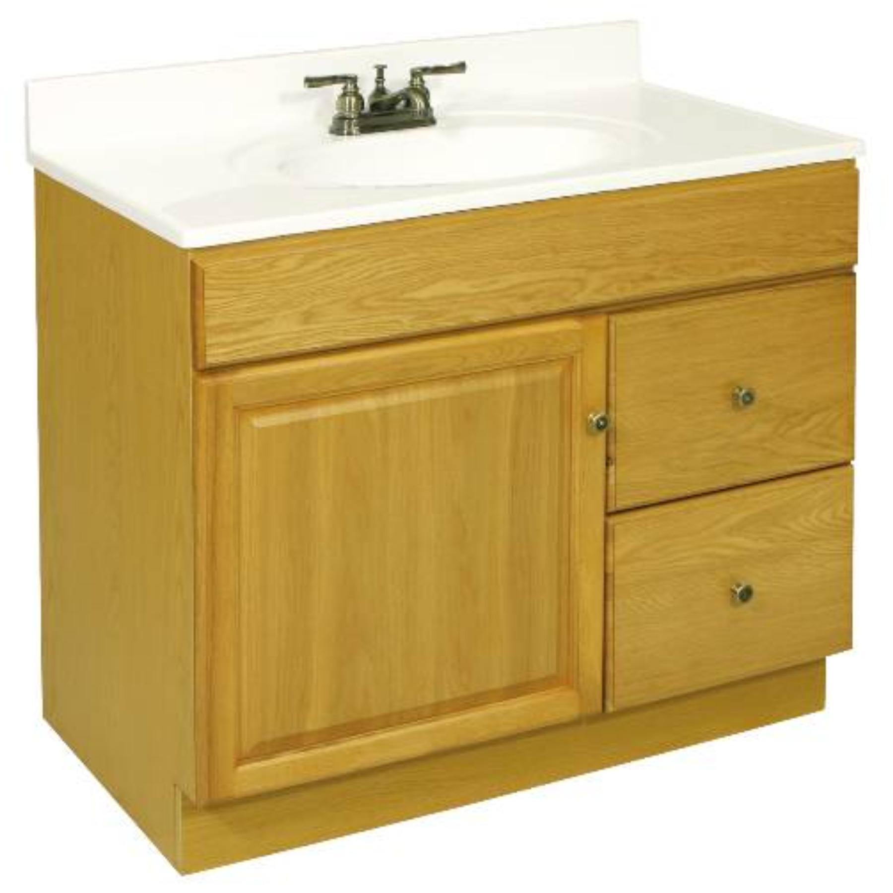 """36"""" x 21.5"""" Claremont Bathroom Vanity Cabinet, Ready To Assemble, 1 Door, 2 Drawer, Honey Oak"""