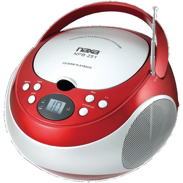 NAXA NPB251RD Portable CD Player with AM/FM Radio (Red)