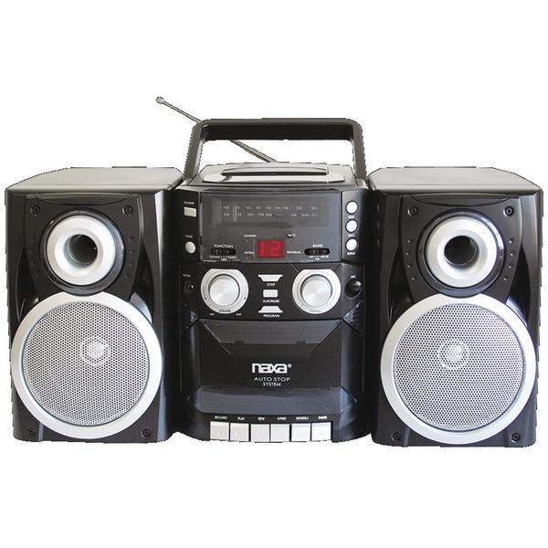 NAXA NPB426 PORTABLE CD PLAYER WITH AM/FM RADIO, CASSETTE & DETACHABLE SPEAKERS