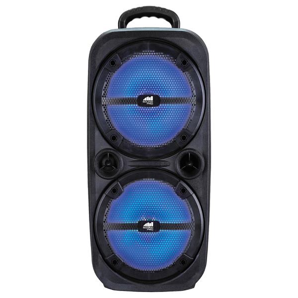 Naxa NDS-8502 Sound Pro Dual 8-Inch 4,000-Watt Portable Bluetooth Wireless Speaker with Disco Lights and Microphone