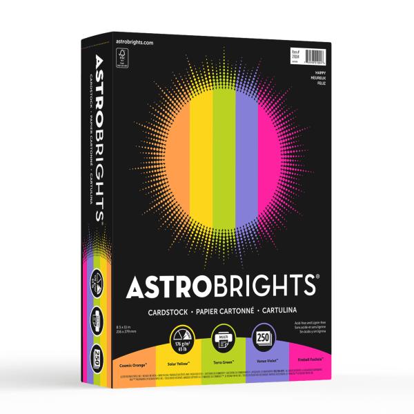 Color Cardstock, 65lb, 8 1/2 x 11, Assorted, 250 Sheets