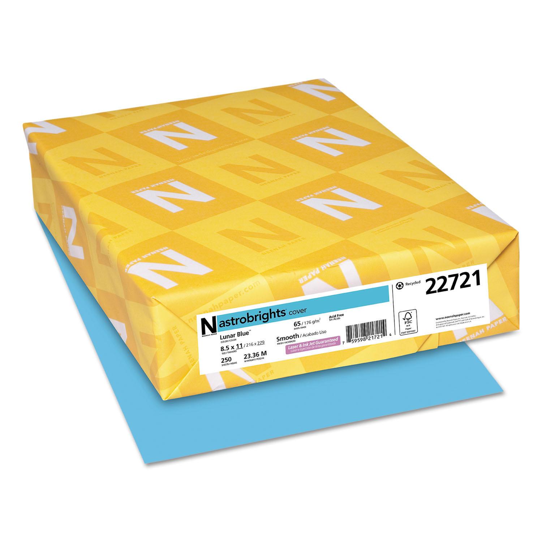 Color Cardstock, 65lb, 8 1/2 x 11, Lunar Blue, 250 Sheets
