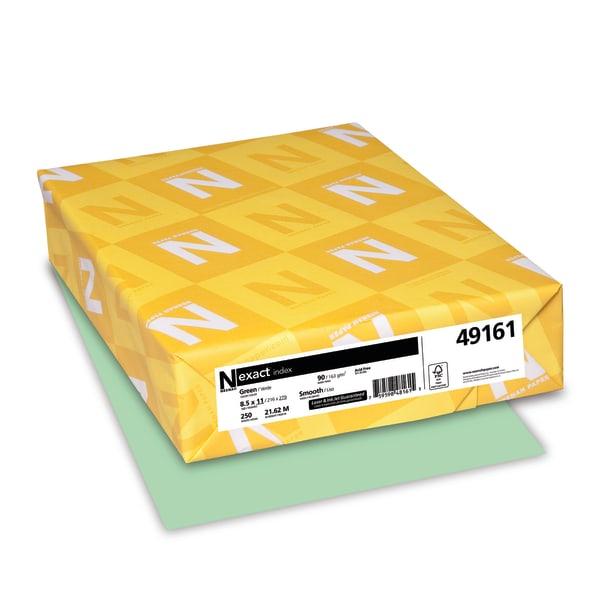Exact Index Card Stock, 90lb, 8 1/2 x 11, Green, 250 Sheets
