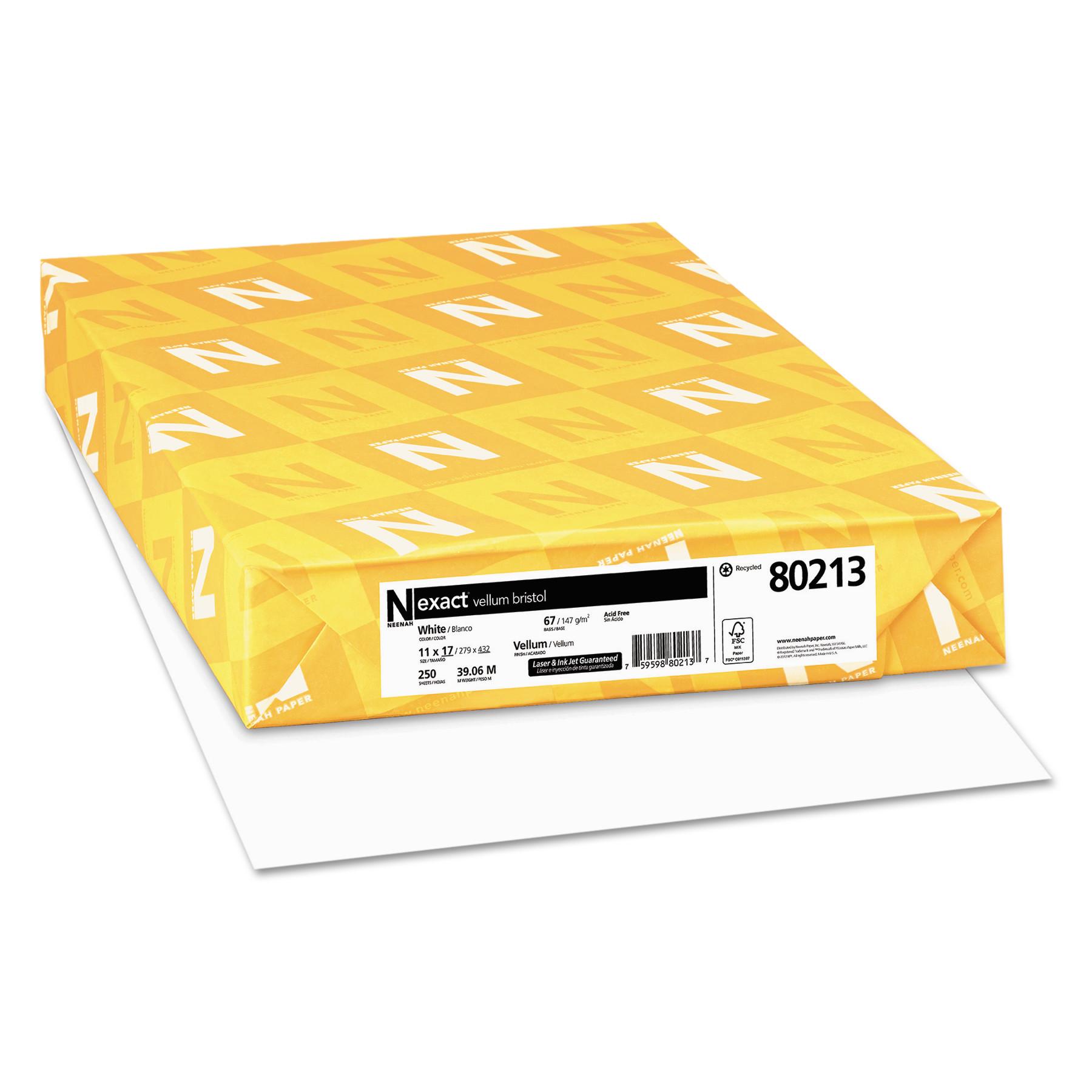 Exact Vellum Bristol Med-Heavyweight Paper, 67lb, 92 Bright, 11 x 17, 250 Sheets