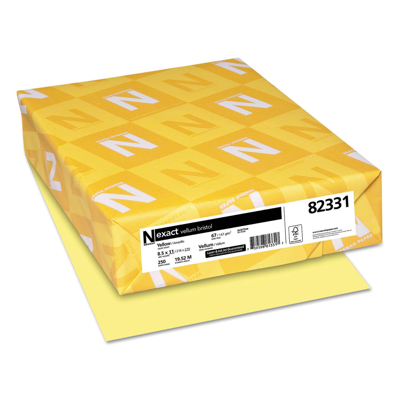 Exact Vellum Bristol Cover Stock, 67lb, 8 1/2 x 11, Yellow, 250 Sheets