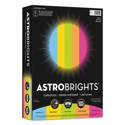 """Color Cardstock -""""Bright"""" Assortment, 8 1/2 x 11, 5 Colors, 65lb, 250 Sheets"""