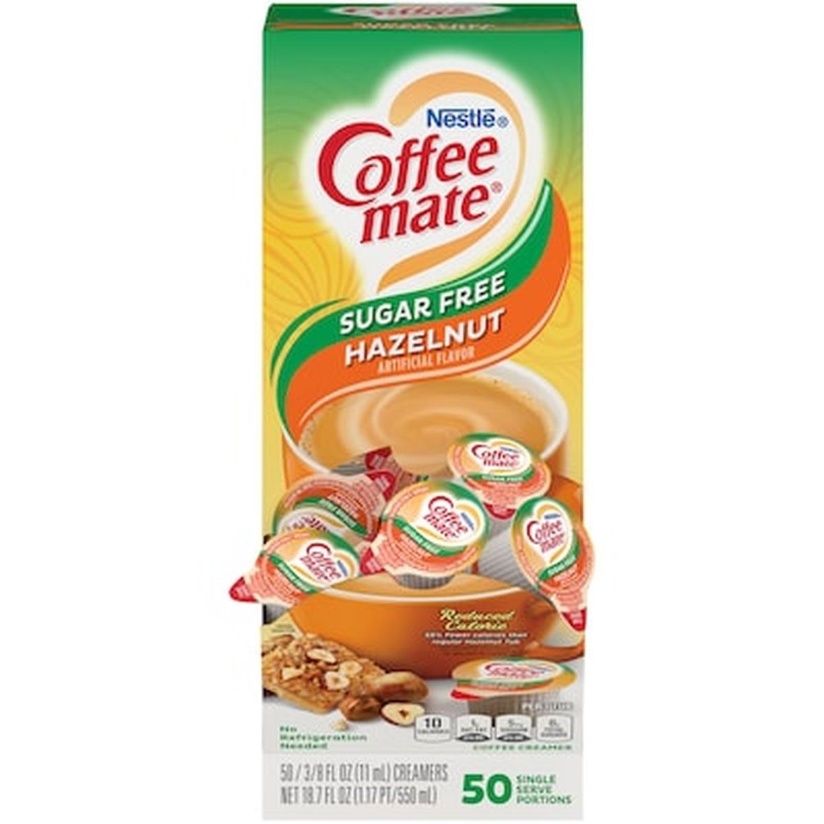 Liquid Coffee Creamer, Sugar-Free Hazelnut, 0.38 oz Mini Cups, 50/Box