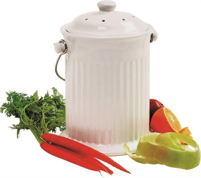 1-Gallon Ceramic Compost Crock, White