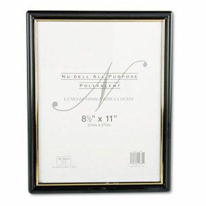 EZ Mount Document Frame with Trim Accent, Plastic, 8-1/2 x 11, Black/Gold