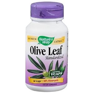 Nature's Way Olive Leaf Standardized 20% Oleuropein (60 Veg Capsules)