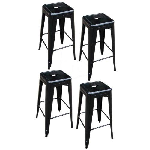 AmeriHome 4 Piece 30 Inch Metal Bar Stool Set - Black