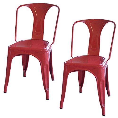 AmeriHome 2 Piece Metal Dining Chair Set - Silver