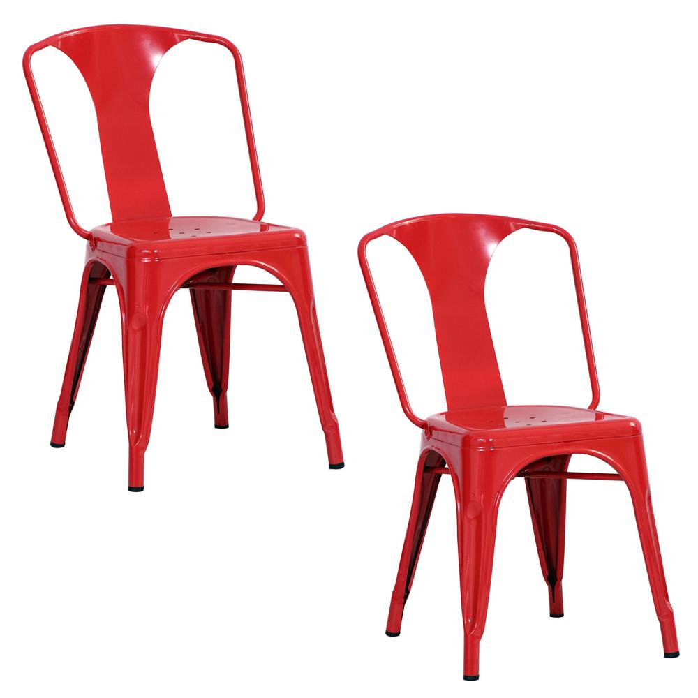 AmeriHome 2 Piece Metal Dining Chair Set - Red