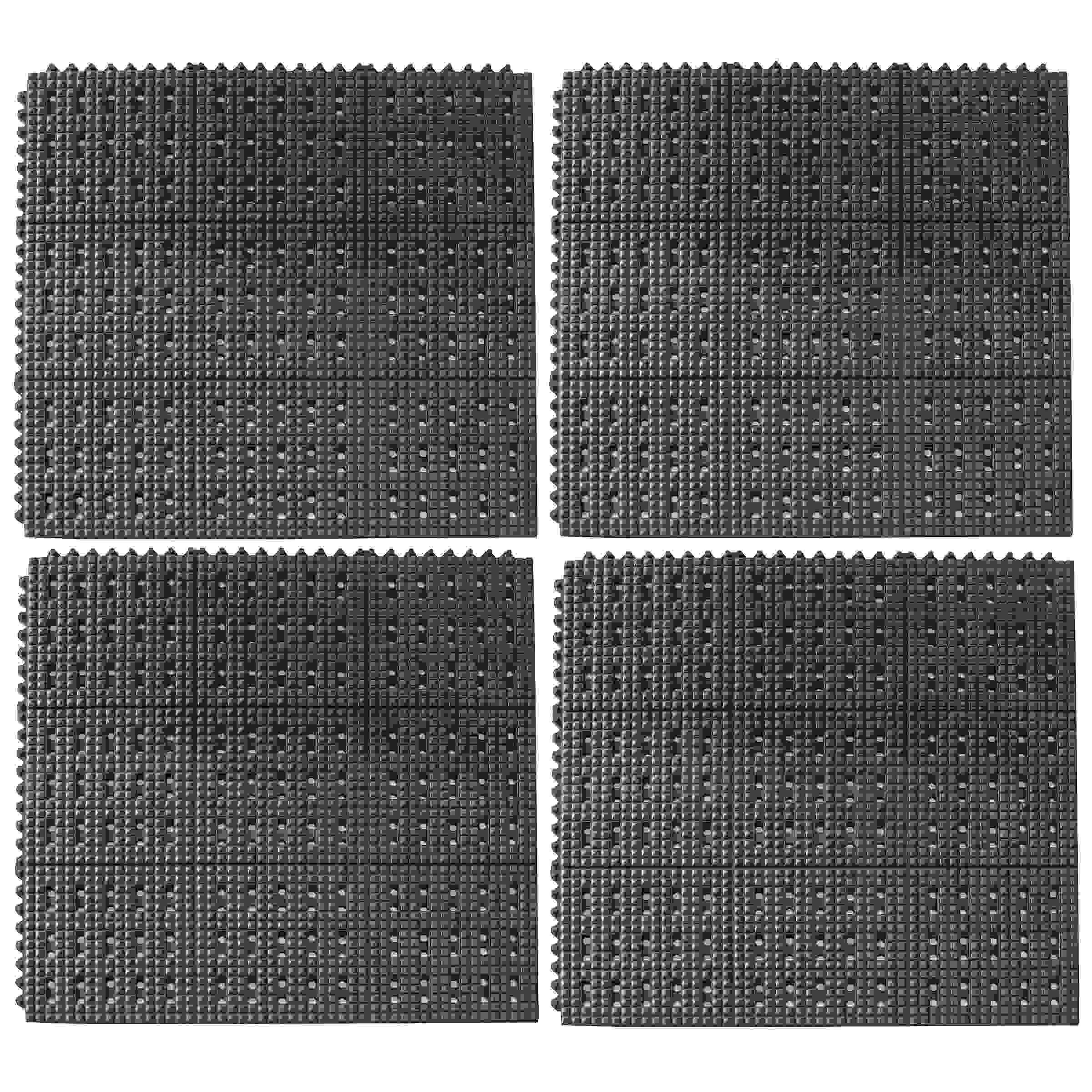 3 x 3 Foot Anti-Fatigue Interlocking Rubber Mats - 4 Pack