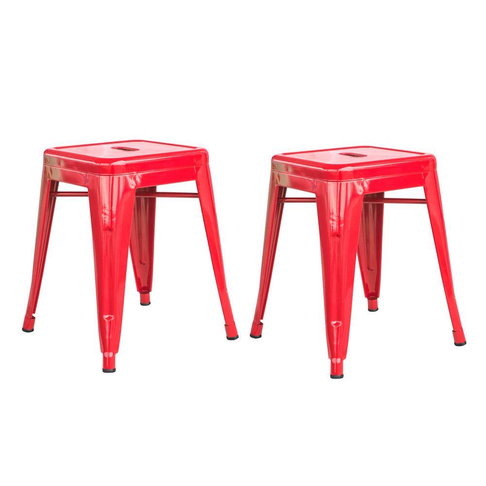 Loft Red 18 Inch Metal Bar Stool - 2 Piece