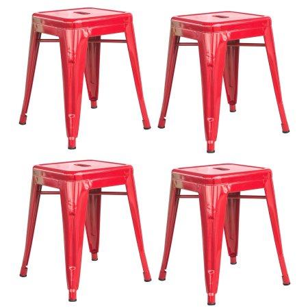 Loft Red 18 Inch Metal Bar Stool - 4 Piece