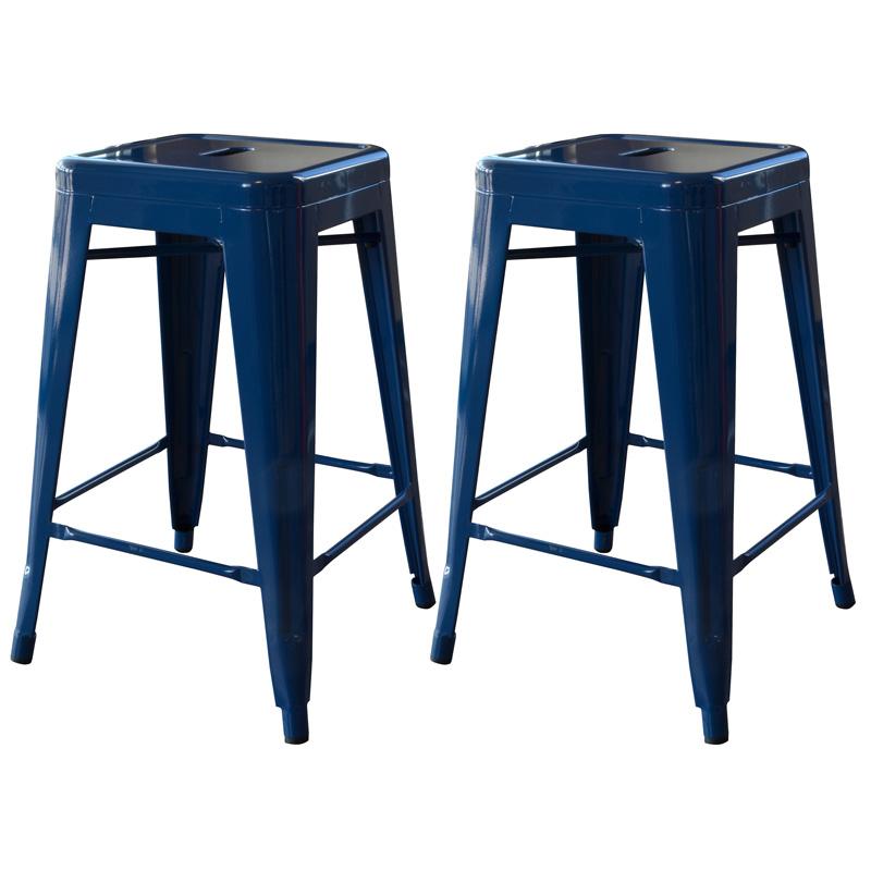 "AmeriHome 24"" Metal Bar Stool, Set of 2, Blue"