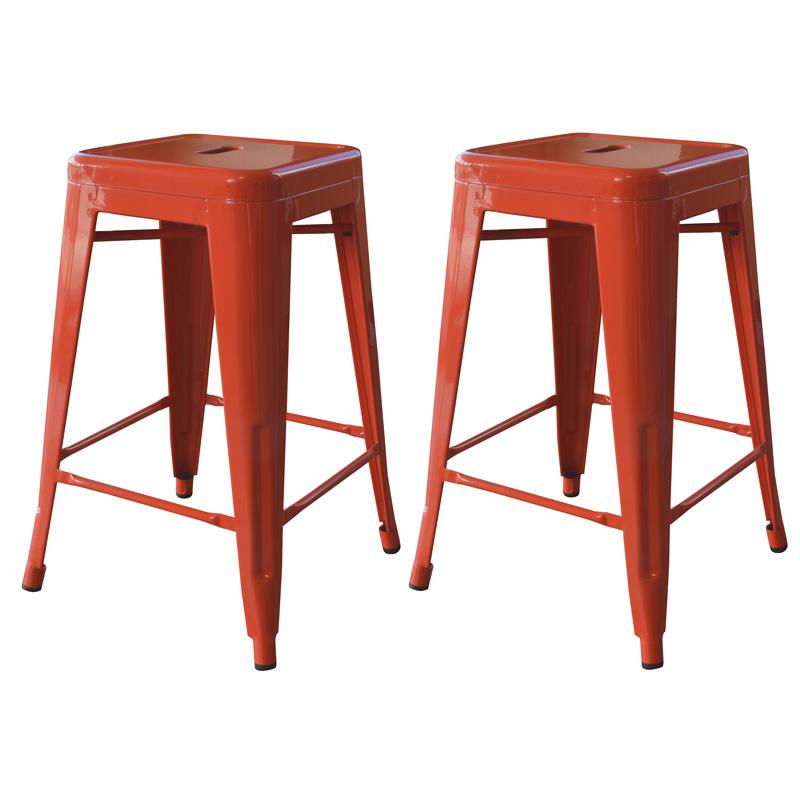 """AmeriHome 24"""" Metal Bar Stool, Set of 2, Orange"""