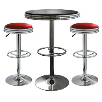 AmeriHome 3 Piece Soda Fountain Style Bar Set - Red/Black