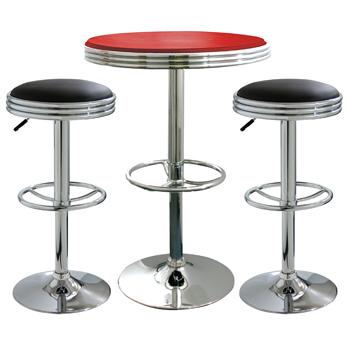 AmeriHome 3 Piece Soda Fountain Style Bar Set - Black/Red