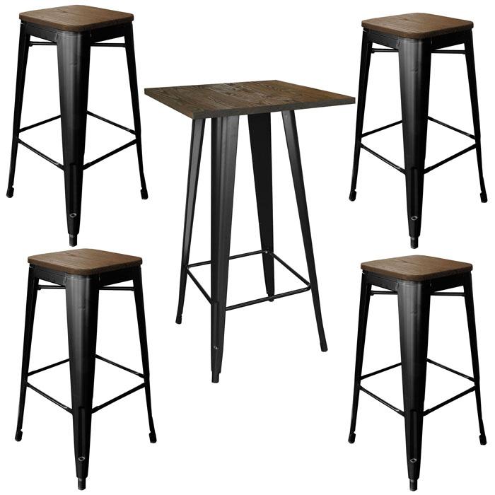 Loft Glossy Black Pub Set with Wood Tops - 5 Piece