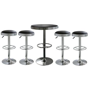 AmeriHome 5 Piece Soda Fountain Style Bar Set - Black