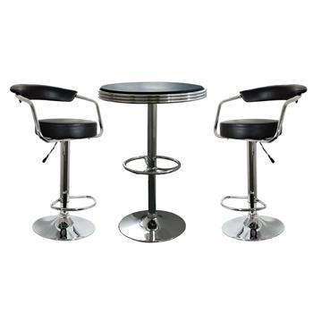 AmeriHome 3 Piece Soda Fountain Style Bar Set - Black
