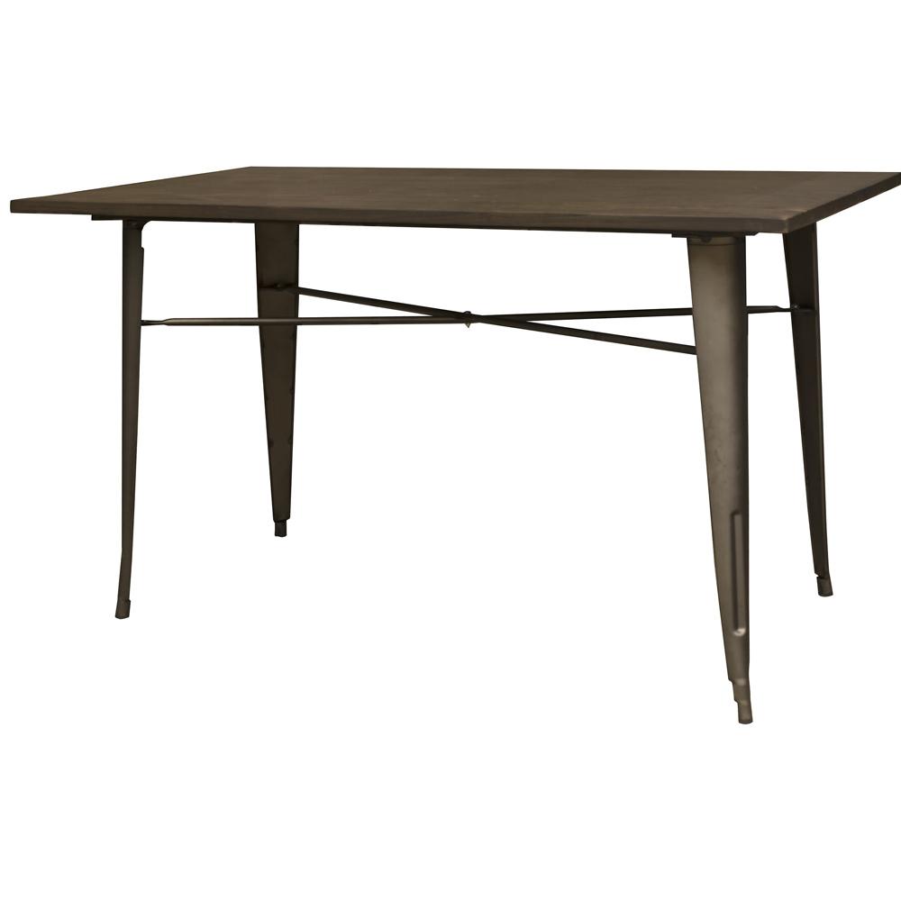 Loft Rustic Gunmetal Metal Dining Table with Wood Top